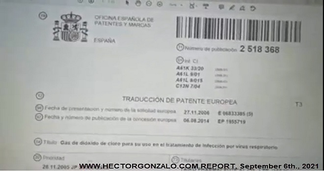 1075.01 Spain IMPOSSIBLE TO BELIEVE SINCE 2014 CHLORINE DIOXIDE HAS BEEN PATENTED IN SPAIN FOR USE IN RESPIRATORY PROBLEMS AND CORRUPT GOVERNMENTS AND KILLERS LETTING PEOPLE DIE
