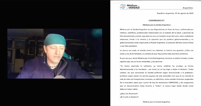 570.01 CHILE Bitacora Del Sur Ramon Freire ARGENTINA COMUNICAD No 1 Medicos por la Verdad Argentina