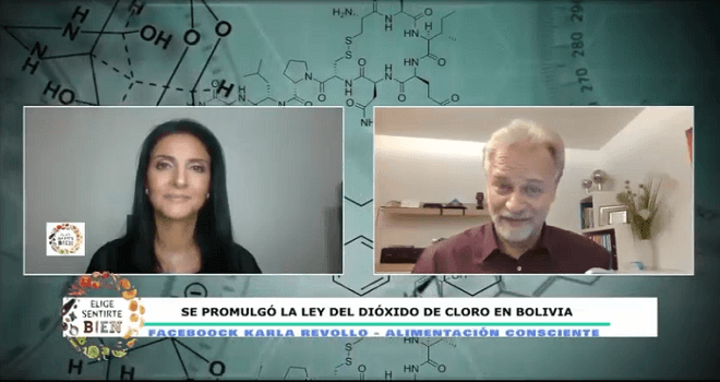 657.01 BOLIVIA KARLA REVOLLO Interview with ANDREAS KALCKER The Plurinational Legislative Assembly promulgated the law authorizing the elaboration of the commercialization of the supply and use of chlorine dioxide 14 10 2020