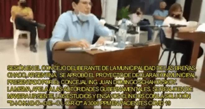 696.01 ARGENTINA CHACO LAS BREÑAS ING JUAN DOMINGO SCHAVOSKOY Se aprobo el proyecto estudios y ensayos clinicos solucion dioxido de cloro