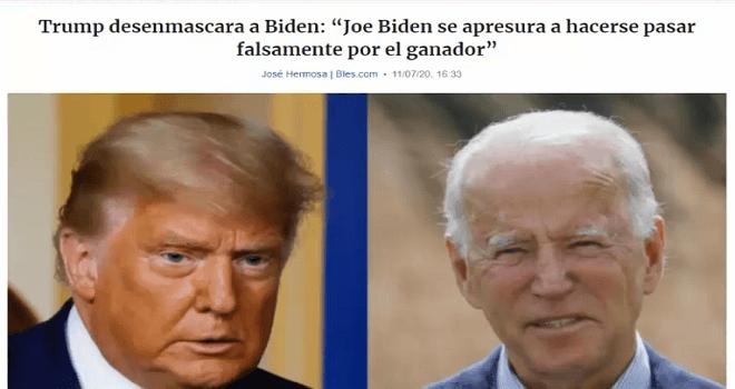 703.02 ESTADOS UNIDOS DE AMERICA BLES.COM Trump desenmascara a Biden Joe Biden se apresura a hacerse pasar falsamente por el ganador