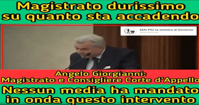 746.01 ITALY Magistrate Angelo Giorgianni NEVER MORE the left to the Government October 21 intervenes on what is happening listen you will not hear these words from other parties