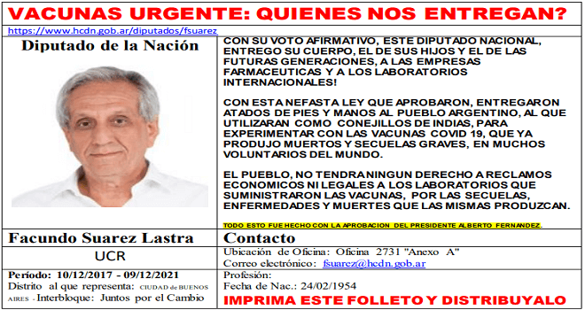 747.01 Argentinian Deputies district Ciudad de Buenos Aires giving of argentine people for experiments, at the end of the audio below, you will download the text in pdf doc