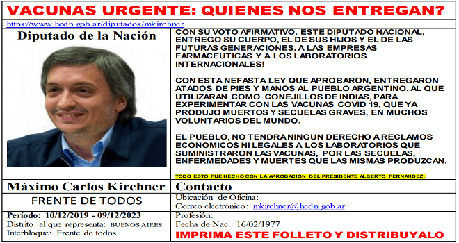 747.02 Argentinian Deputies district Provincia de Buenos Aires giving of argentine people for experiments, at the end of the audio below, you will download the text in pdf doc