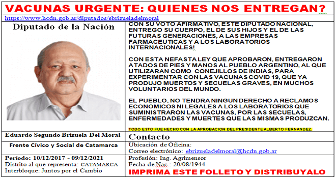 747.03 Argentinian Deputies district Catamarca giving of argentine people for experiments, at the end of the audio below, you will download the text in pdf doc