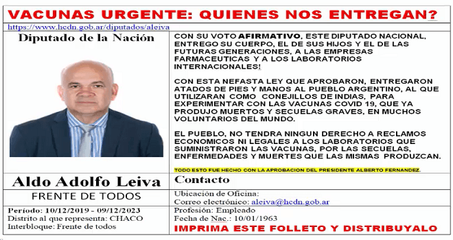 747.04 Argentinian Deputies district Chaco giving of argentine people for experiments, at the end of the audio below, you will download the text in pdf doc